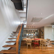 A unique staircase design connects the two floors architecture, ceiling, daylighting, interior design, loft, stairs, gray