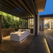 Recessed lighting is one of the more effective architecture, deck, estate, house, interior design, lighting, property, real estate, roof, wood, brown
