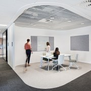 At ADCO Constructions' new offices a white mesh, ceiling, floor, interior design, office, white