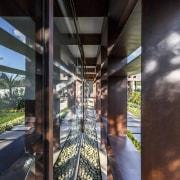 The bars also provide shade architecture, structure, black, gray