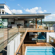 Split-level luxury architecture, house, real estate, roof, swimming pool, water, teal