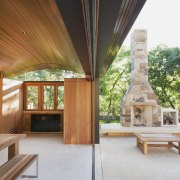 There's seamless indoor/outdoor flow architecture, estate, house, interior design, outdoor structure, property, real estate, roof, brown