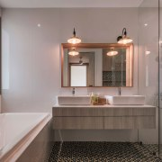 This bathroom makes the most of the available bathroom, home, interior design, room, sink, gray