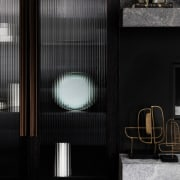 The cupboard adjacent to the fireplace architecture, daylighting, wall, window, black