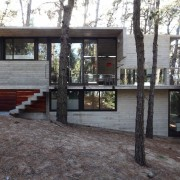 A pine tree rises up through the deck architecture, cottage, home, house, property, real estate, tree, black, gray