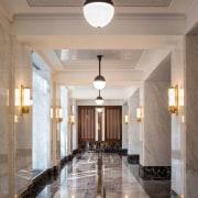 Jon Bon Jovi's new apartment in NYC – architecture, ceiling, column, daylighting, estate, floor, flooring, hall, home, interior design, lighting, lobby, real estate, gray