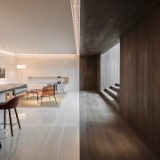 Like an optical illusion, two materials meet in architecture, ceiling, floor, flooring, hardwood, house, interior design, wood, wood flooring, black, gray