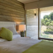Wood elements from the exterior run through this architecture, bed, bedroom, ceiling, estate, home, house, interior design, property, real estate, room, window, window covering, window treatment, wood, brown, gray