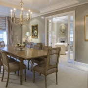 The dining room proper, with ornate chandelier ceiling, dining room, estate, home, interior design, property, real estate, room, table, window, gray