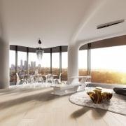 Mayfair Residential Tower – Zaha Hadid Architects apartment, architecture, ceiling, condominium, floor, interior design, living room, penthouse apartment, real estate, window, gray