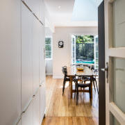 Looking through into the dining area architecture, floor, flooring, home, house, interior design, real estate, room, wood, gray