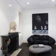TIDA AU 2017 – Architect-designed renovation winner – ceiling, floor, flooring, hearth, home, house, interior design, living room, property, room, wall, gray, black