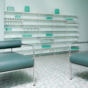 Sergio Mannino Studio designed this pharmacy to be furniture, glass, interior design, product, product design, table, gray