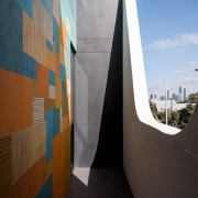 Coloured blocks are an eye-catching addition angle, architecture, building, daylighting, house, sky, wall, black