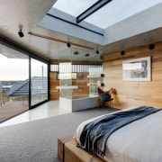 Another view of the master bedroom architecture, bed frame, ceiling, daylighting, floor, house, interior design, real estate, wood, gray