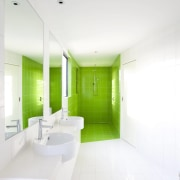 Lime green tiles book end this bathroom architecture, bathroom, ceiling, daylighting, floor, home, house, interior design, product design, real estate, room, white