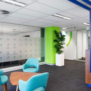 This reception area is spacious and well-lit ceiling, interior design, office, product design, gray