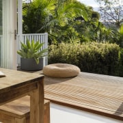 Step off from this deck and down to deck, furniture, home, house, outdoor furniture, outdoor structure, plant, property, real estate, table, window, wood, brown, gray