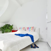 A floating bed makes the room feel much bed, bed frame, bed sheet, bedroom, interior design, product, product design, room, suite, white