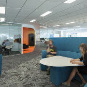 Casual breakout spaces in the Z Energy fit-out institution, interior design, office, gray, teal