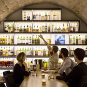 This new whiskey bar takes advantage of a bar, interior design, restaurant, brown