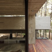 The architects carefully integrated a deck, running it architecture, home, house, real estate, siding, wood, brown