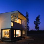 Slats are an interesting design feature on the architecture, building, facade, home, house, property, real estate, window, blue, black