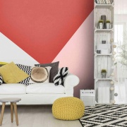 Geometric wallpaper couch, furniture, home, interior design, living room, product design, room, table, wall, wallpaper, yellow, white