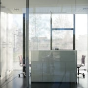 Offices are separate by glass walls architecture, daylighting, door, floor, glass, interior design, window, gray, white
