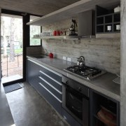 This kitchen makes the most of the space cabinetry, countertop, interior design, kitchen, black, gray