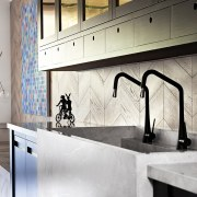 The size and shape of this kitchen sink cabinetry, countertop, floor, flooring, interior design, kitchen, sink, tap, tile, under cabinet lighting, wall, white