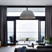 For sea lovers, there's no better place ceiling, home, interior design, living room, room, window, window covering, window treatment, white, black