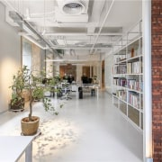 Exposed air conditioning runs across the ceiling interior design, lobby, loft, gray