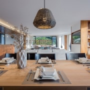 Hanging lights draw the eye furniture, interior design, table, gray, brown