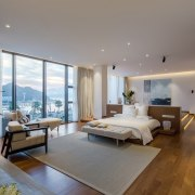 Looking down into the bedroom from the raised apartment, architecture, ceiling, condominium, estate, floor, interior design, living room, penthouse apartment, property, real estate, room, window, gray