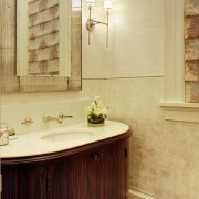 This powder room is like stepping back in bathroom, bathroom accessory, bathroom cabinet, cabinetry, floor, flooring, home, interior design, room, sink, tile, wall, orange