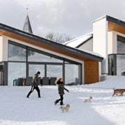 A view of the villas during winter facade, home, house, ice, snow, winter, white