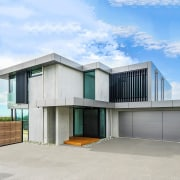 Registered Master Builders – House of the Year architecture, building, commercial building, elevation, facade, home, house, property, real estate, teal, gray