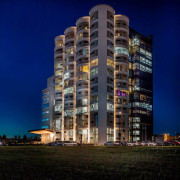 The Tervahovi Silos / PAVE Architects apartment, architecture, building, city, cityscape, commercial building, condominium, corporate headquarters, facade, headquarters, hotel, metropolis, metropolitan area, mixed use, night, real estate, residential area, sky, skyscraper, tower, tower block, urban area, blue, black