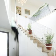 The white mesh is certainly different architecture, daylighting, glass, handrail, home, house, interior design, product design, stairs, window, white