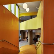 Bunbury Catholic College – Mercy Campus apartment, architecture, ceiling, daylighting, home, house, interior design, lighting, lobby, orange, wall, yellow, brown