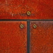 A closer view of the weathering steel (also hardwood, line, orange, texture, wood, wood stain, red