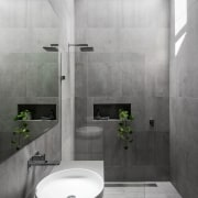 A skylight means even light for this new architecture, bathroom, floor, interior design, plumbing fixture, product design, tap, tile, wall, gray, white