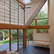 Photo by Jim Tetro architecture, ceiling, daylighting, estate, floor, home, house, interior design, living room, real estate, roof, window, window covering, wood, gray, brown