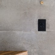 The timber extends out of the wall concrete, floor, texture, wall, gray