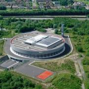 569 firestation aerial photography, arena, bird's eye view, sport venue, stadium, structure, green, gray