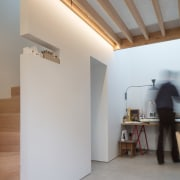 A cut-out in the wall is the perfect architecture, ceiling, daylighting, floor, house, interior design, loft, wall, gray