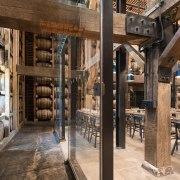 Barrel house interior design, wood, brown