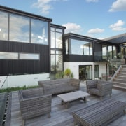 One of the outdoor entertaining areas architecture, facade, home, house, property, real estate, residential area, window, gray, black