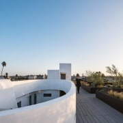 On the roof, you gain access to a architecture, house, property, real estate, roof, sky, gray, white